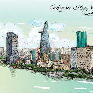 Vector Saigon, Vietnam tuyệt đẹp - KS1239