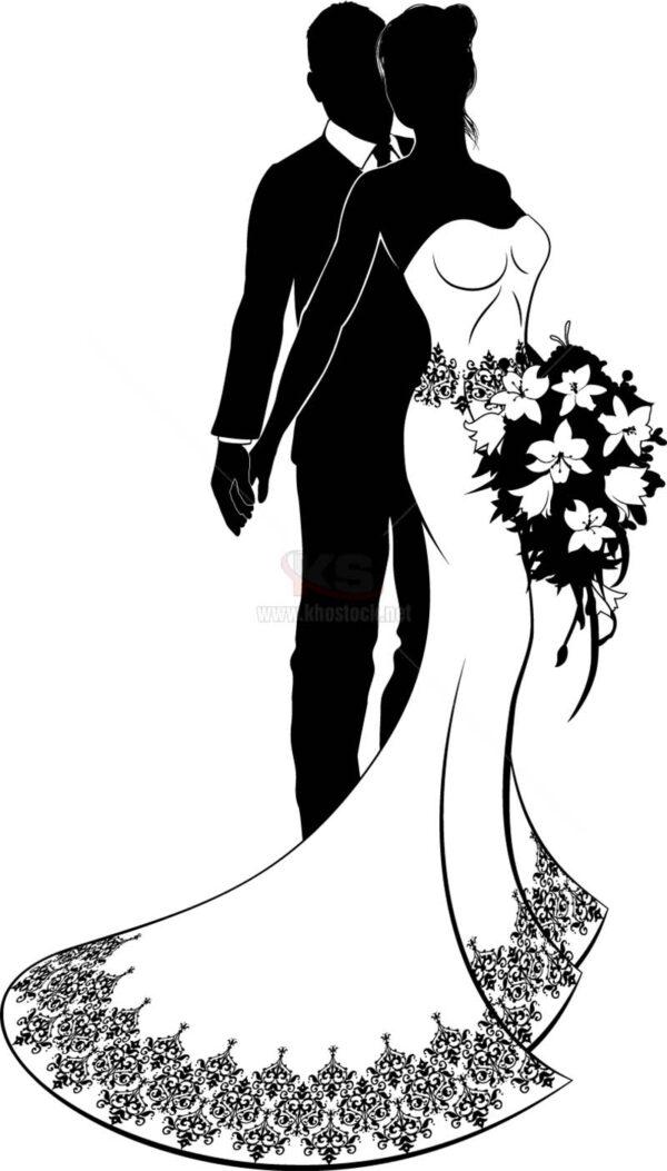 Vector cô dâu chú rể đen trắng - KS1269