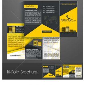 Tri-Fold Brochure vàng đen Vector - KS1278
