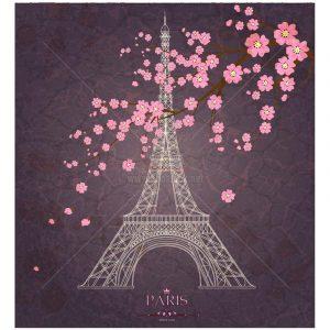 Tháp Eiffel và Hoa Đào Vector tuyệt đẹp - KS1279