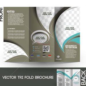 Vector Tri-Fold Brochure màu nâu gấp 3 - KS1283
