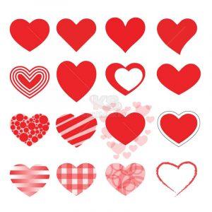 Vector trái tim đa dạng màu đỏ - KS1285