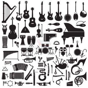 Vector nhạc cụ màu đen các loại - KS1295