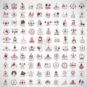 100 Logo Merry Christmas Vector - KS1299
