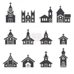 Logo icons nhà thờ Vector miễn phí - KS1304