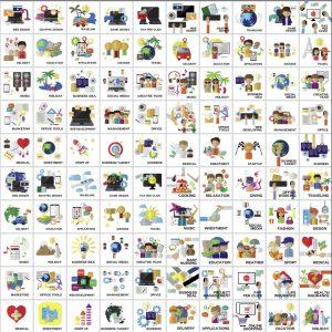 100 icons hiện đại đầy màu sắc Vector - KS1336