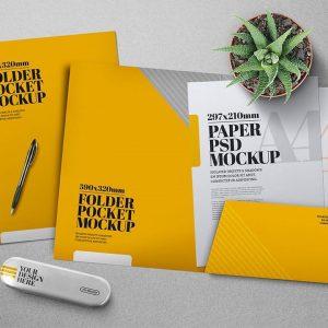Folder Pocket Mockup PSD tuyệt đẹp - KS1388