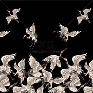 Vector Chim Hạc nền đen Patterns - KS1359