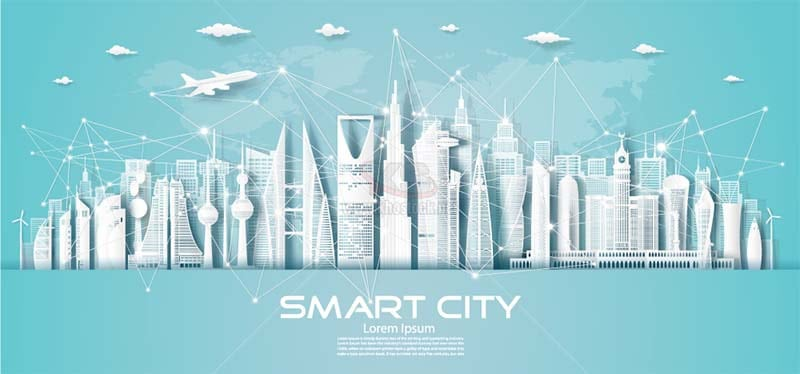 Vector thành phố công nghệ cắt giấy - KS1380