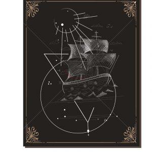 Vector thuyền đen trắng, tranh tuyệt đẹp - KS1383