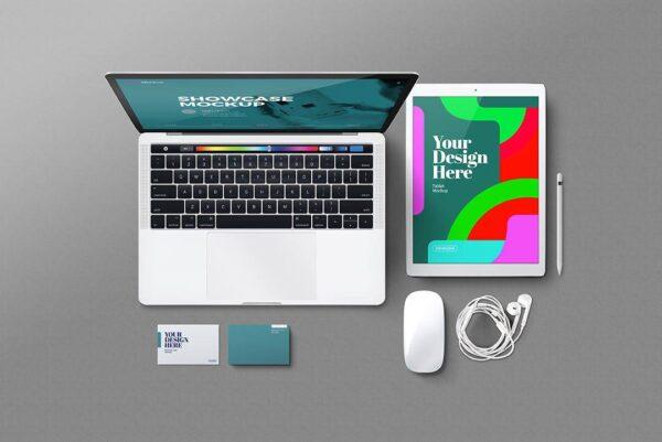 Mockup máy tính bảng, Laptop và phụ kiện PSD - KS1384