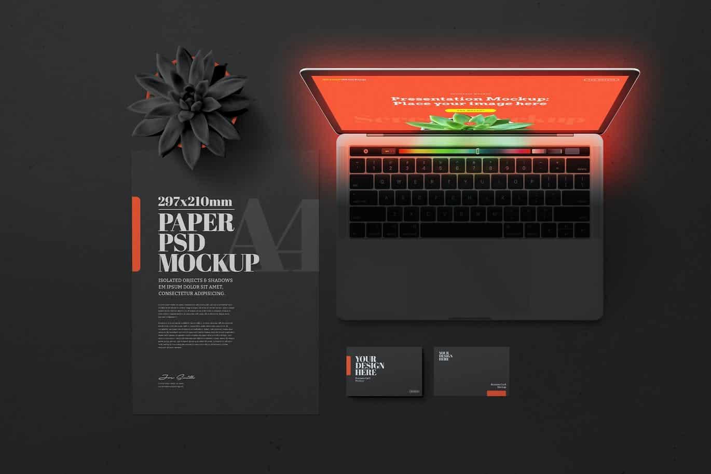 PSD Mockup Laptop văn phòng phẩm màu đen - KS1386