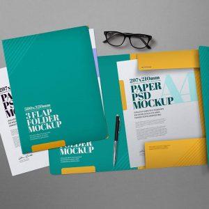 PSD Mockup Folder màu xanh tuyệt đẹp - KS1389