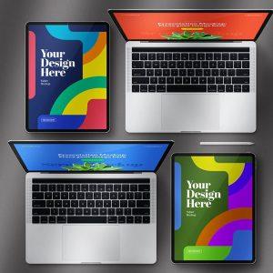 PSD Tablets Pro Notebooks Set Mockup - KS1391