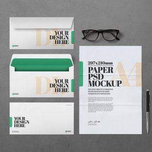 Mockup Bao thư và giấy A4 PSD - KS1394