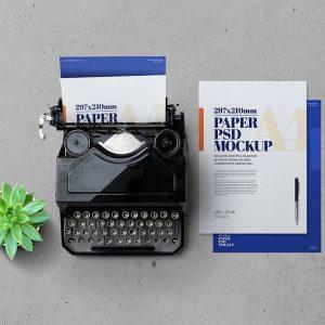 Mockup Máy Đánh Chữ và giấy A4 - KS1396