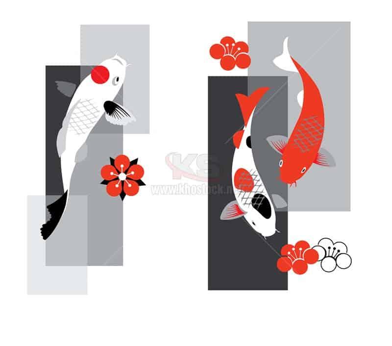3 Con Cá Koi và hoa đỏ Vector - KS1319