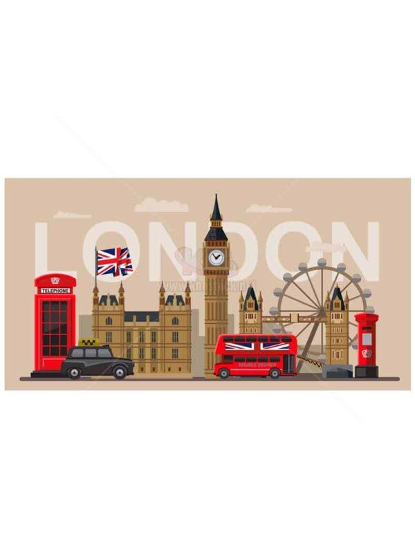 Du Lịch London Vector hiện đại - KS1339