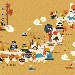 Bản đồ du lịch Nhật Bản Vector - KS1344