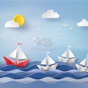 Thuyền và Biển Vector cắt giấy - KS1345