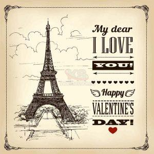 Tháp Eiffel vẽ chì tuyệt đẹp Vector - KS1432
