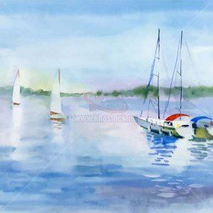Tranh Màu Nước thuyền trên sông Vector - KS1437