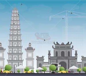 Vector Hà Nội cùng các tòa nhà nổi tiếng - KS1439