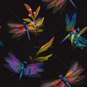 Chuồn Chuồn Vector Patterns đa màu sắc - KS1446
