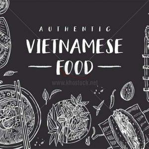 Ẩm Thực Việt Nam vẽ chì Vector - KS1458