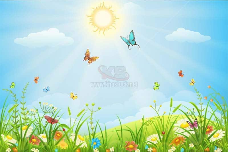 Hoa Cỏ Mặt Trời và Bướm Vector tuyệt đẹp - KS1460