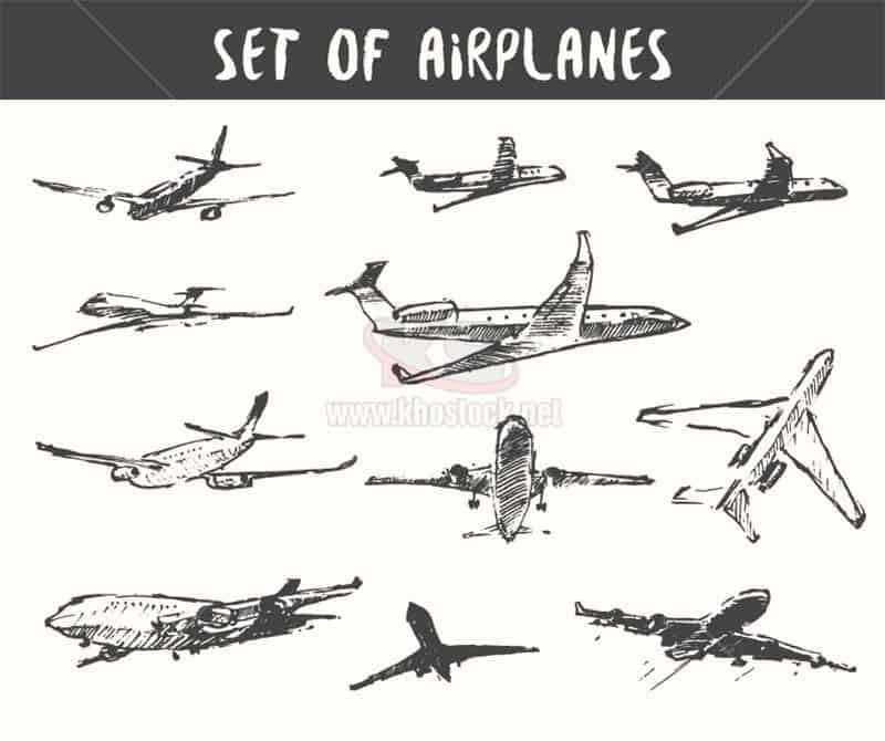 Máy bay vector vẽ chì tuyệt đẹp - KS1474