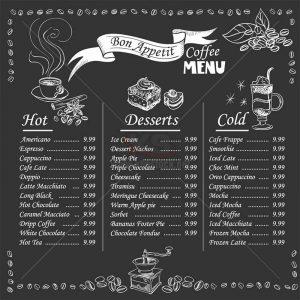 Menu Cafe Vector phong cách cổ điển – KS1480
